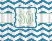 Custom Personalized Chevron Shower Curtain - Shown two different shades Blue Chevron with Lt Green Accent