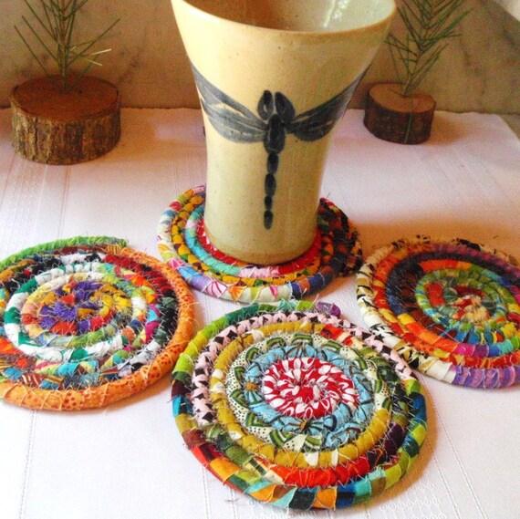 Multicolored Bohemian Coiled Coasters - Set of 4