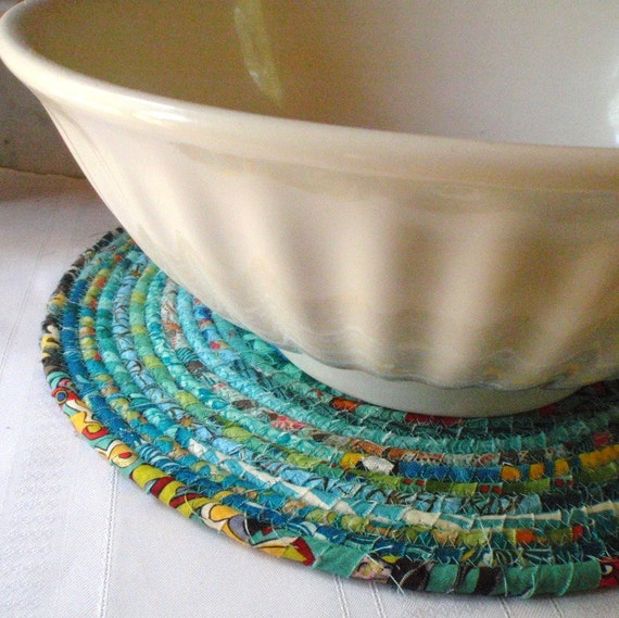 Bohemian Coiled Turquoise Mat, Chair Pad, Hot Pad, Trivet, Placemat - EXTRA LARGE ROUND
