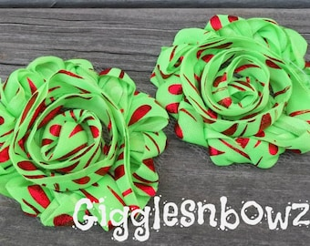 Set of Two Shabby Frayed Vintage look Rosette Flowers- GRiNCHY CHRiSTMaS