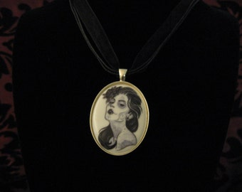 Black and white sugar skull cameo necklace
