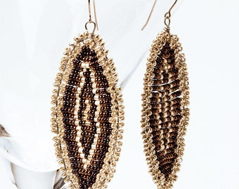 Giant Geode Earrings Made from Czech Glass Seed Beads in Brown and Silver Tones with Sterling Silver French Ear wire