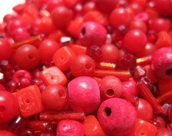 FIRE & BRIMSTONE - Mixed Array of Small Red Beads (Various Materials, Sizes, Shapes) Wholesale Bulk Loose Beads / De-Stash Beading Supplies