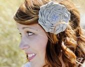 RUTH CLIP- tan  rosette shabby chic hair clip