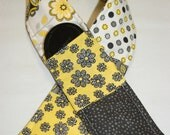 Padded Camera Strap with pocket in black grey yellow flowers paisley patchwork