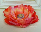 Sunset Peony Hair Flower with Multi Colored Rhinestones Women Bridal Prom Girls