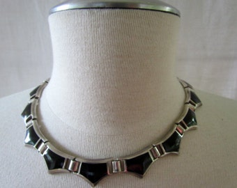 Circa 1970's Made in Mexico Black Onyx and Sterling Hinged Link Necklace