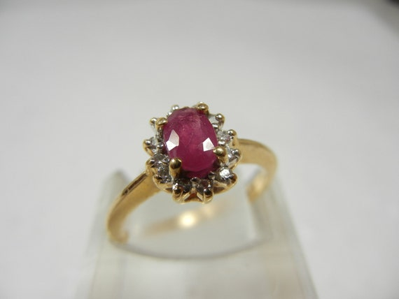 ruby and ring princess diana style 14k gold
