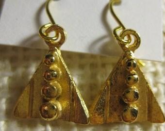 Triangle Earrings, Vintage Brass, Charm Earrings, Gold-plated Ear Wires, Geometric Jewelry