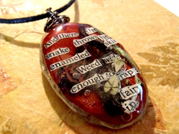 Book Page Words Resin Pendant Necklace Feather Fairy Wing Snake Twig Green Grass Faux Leather Copper Red Brown Large Oval Boheman Jewelry