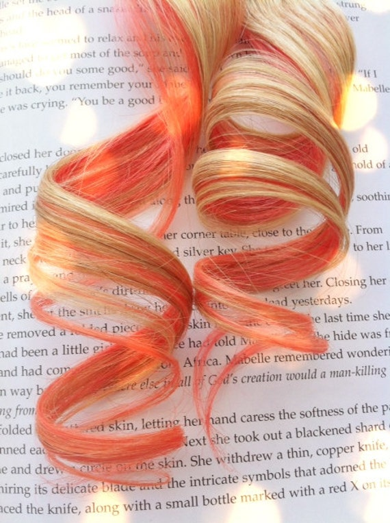 SALE the H O N E Y . P E A C H . honey peach Human Hair clip in 15 inches blonde pink Black Friday Cyber Monday