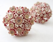 Pair of Unsigned White and Pink Plastic Floral and Rhinestone Screwback Earrings