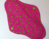 Mama Cloth Reusable Menstrual Pad Sanitary Pad with PUL liner neon pink neon green polka dots - size L to L Plus