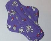 Mama Cloth Reusable Sanitary Menstrual Pad with PUL lining girly skulls lavender - size SMALL to MEDIUM