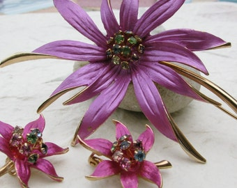 Big Fuchsia Flower Brooch and Earring Demi Parure