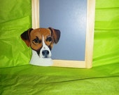 Blackboard frame with metal dog.. jack Russell and chalk in blue