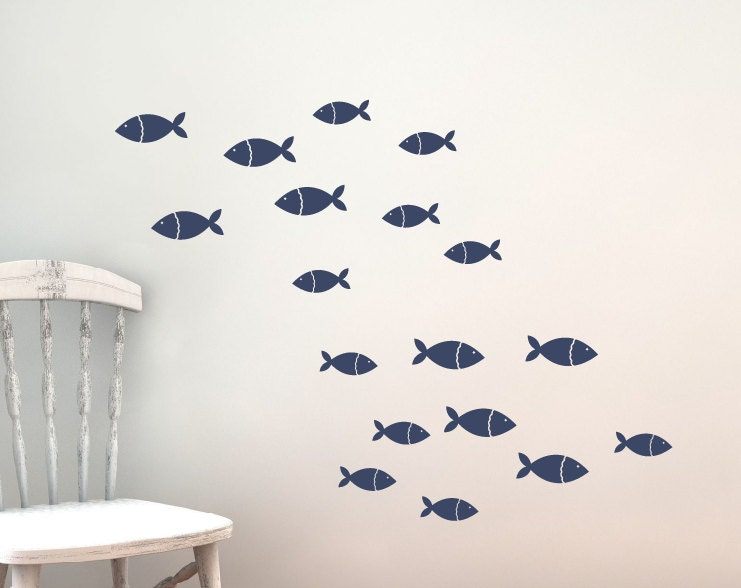 Fish Vinyl Wall Decal Set Children Nursery Sea Ocean