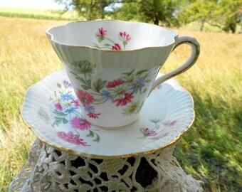 Vintage Teacup Tea Cup and Saucer Floral English Eggshell Bone China