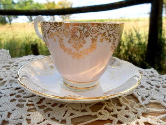 Vintage Teacup Tea Cup and Saucer Pink and Gold English Bone China