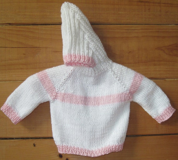 Knitting Pattern Baby Sweater Zipper Up Back : Hand Knit Hooded Baby Infant Sweater Zip Up The by knittingbydiane