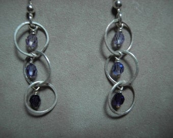 Sterling Silver Hoops with 3 Swarovski Crystals Earrings