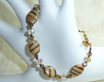 Brown Stripped  Beads and Crystal Braceleet - B1581