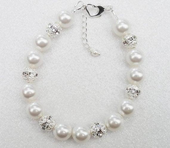 Bridal Or Wedding Bracelet, White Swarovski Pearl And Rhinestone Bracelet, Bridesmaids Bracelet Wedding Jewelry