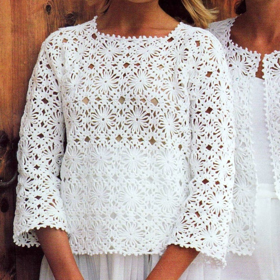 Crochet Granny Square Tunic Pattern : INSTANT DOWNLOAD PDF Vintage Crochet by PastPerfectPatterns