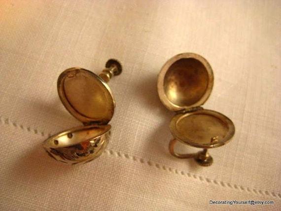 Vintage Locket Earrings Sterling Silver 2 Photo Screw On Back