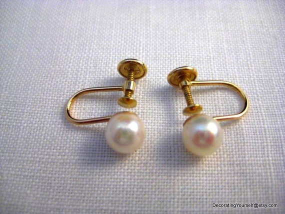 14k Solid Gold Cultured Pearl Earrings Screw On Back  Maruwa Pearls Japan