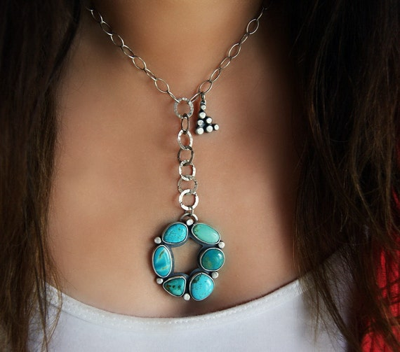 Reserved (Balance)- The Elemental Pools - Turquoise Sterling Silver Necklace