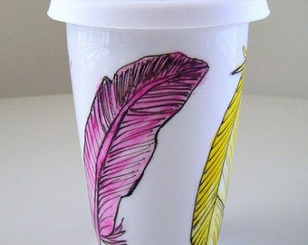 Feathers Ceramic Travel Mug Eco Coffee Cup Woodland Folk Art Painted Pink Aqua Purple Yellow - MADE TO ORDER