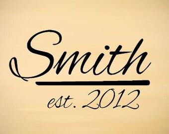 Last Names Est Year Custom Vinyl Decal