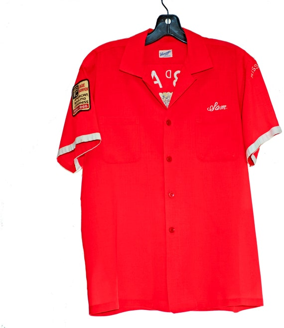 OOAK Rare Bright Red 1950s Original BOWLING SHIRT Hard to Find Costume