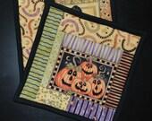 Halloween Potholders, mug rugs, snack mats, set of two fall gift housewarming pumpkins Quiltsy Handmade