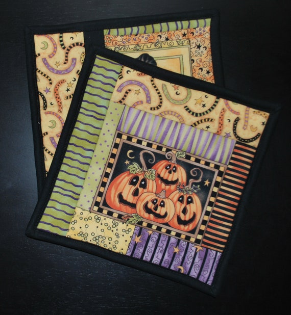 Halloween Potholders, mug rugs, snack mats, set of two fall gift housewarming pumpkins Quiltsy Handmade