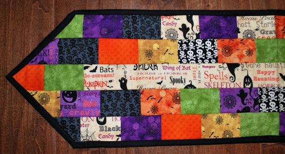 Quilted Halloween Table Runner, Spooky, 10 by 40