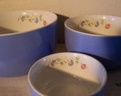 ON SALE NOW Morning Glory Hall's Superior Set of Three Bowls Blue