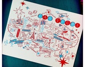 Las Vegas City Map Letterpress Postcard/Save the Date Cards