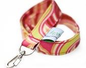 Fabric Lanyard  ID Badge Holder -- Funky Floral --Ready To Ship