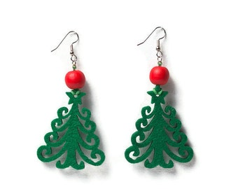 Felted earrings  with Christmas tree for woman