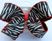 Girls Black White and Red Zebra Print Ribbon Hair Bow - Large 5""