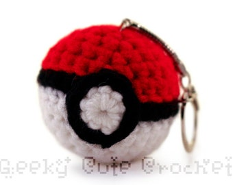 Pokeball Keychain Amigurumi Crocheted Toy Monster Capture Device