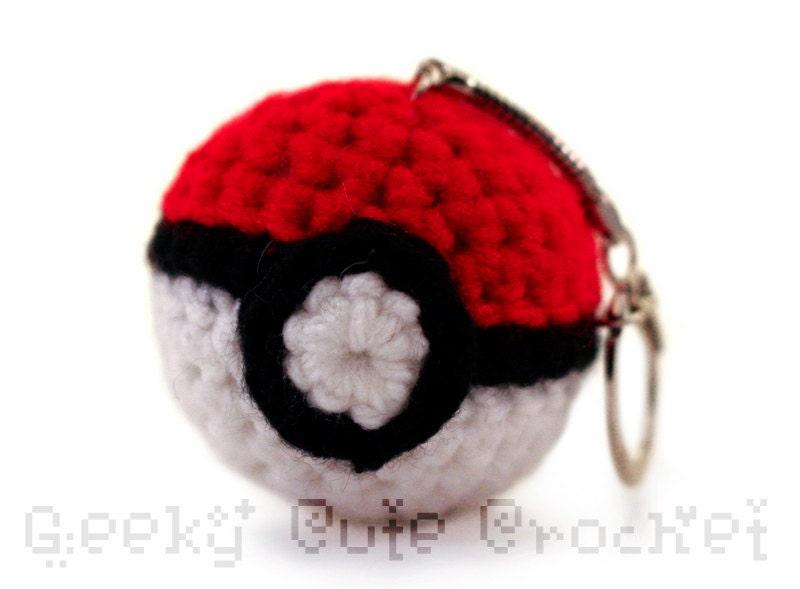 Close Amigurumi Ball : Monster Ball Keychain Amigurumi Crochet Plush Toy Gamer Gear