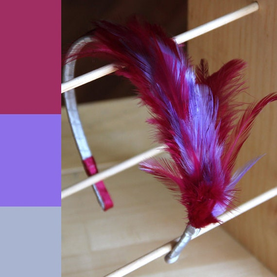 Bright fuchsia and purple feathered hair band/head band. Fascinator. Magenta. Comfortable, flexible and natural. 0045