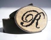 Needlepoint Monogram Belt Buckle Single Letter