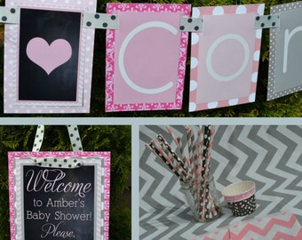 Hearts Baby Shower Party Decorations Pink Gray Fully Assembled