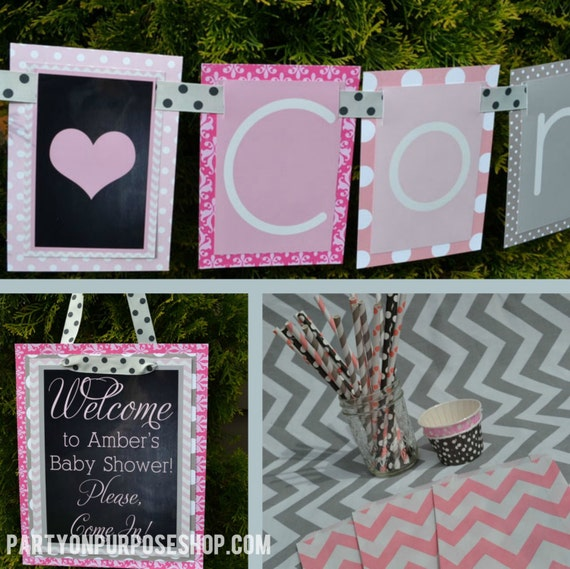 hearts baby shower party decorations pink gray fully by