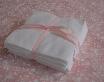 Set of 24 White Flannel 6 inch Squares for Quilts and Crafts