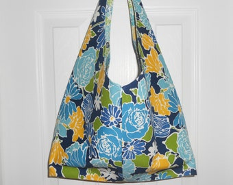 Reversible Slouch Tote Bag...in Jovial Azure